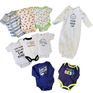 9 Piece Lot 0 - 3 Month Size Baby Clothing Onsies